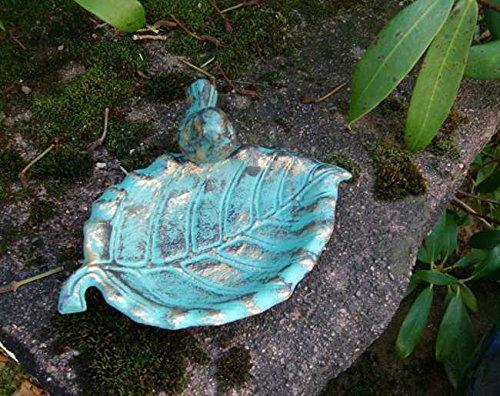 Vogeltränke Vogel-Futterstelle, Gusseisen Antik-Patina türkis-grün