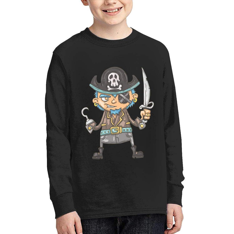 学生 男女兼用 ボーイズ 長袖 Tシャツ 海賊 刀 帽子 ロングスリーブ Oネック ティー シャツ Black