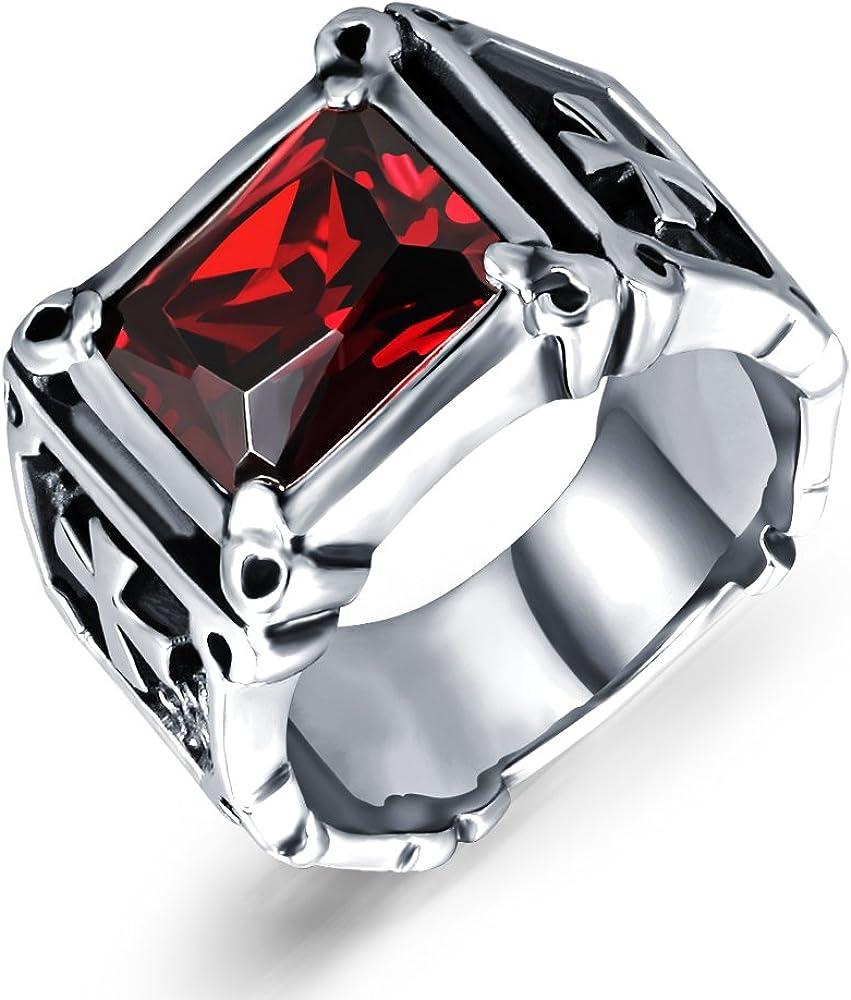 Para hombre sintética de color rojo granate anillos acero inoxidable Dragon Claw Cruz Banda de anillo gótico joyas