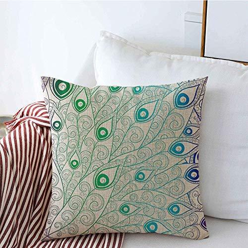 Fundas para almohada Funda de Cojine Funda de cojín Tropical Pavo Real Gradiente Pájaro Azul Patrón Belleza Moda Estampado de flores Texturas naturales Cojine Fundas Almohada 45X45CM