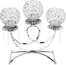 Fenteer Crystal Glass Candle Holders 3 Bowls Shape Design Table Centerpieces for Wedding Anniversary Celebration, Candleli...