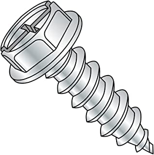 """Steel Sheet Metal Screw, Zinc Plated, Hex Washer Head, Combination Phillips-Slotted Drive, Type AB, 10-16 Thread Size, 1"""" ..."""