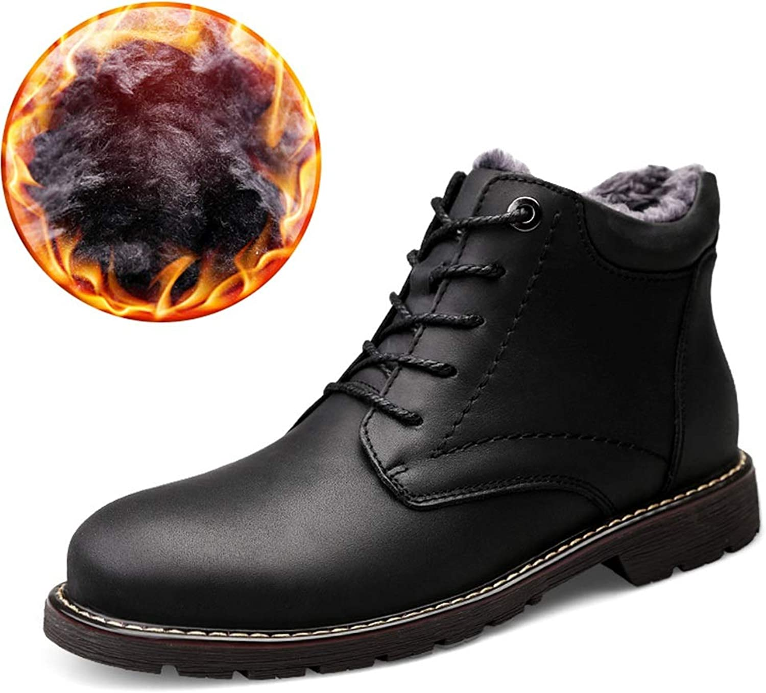 BND-SHOES,Men's Fashion Ankle Boots Casual Cowhide High-top Fleece Inside Outdoor Outsole shoes(Conventional Optional) Durable,Stand Wear and Tear (color   Warm Black, Size   7 D(M) US)