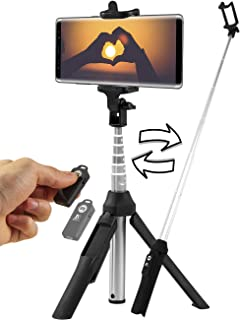 Bluetooth Selfie Stick Tripod - Compatible with All Smartphones - Wireless Remote Extendable Stand for iPhone X 11 XR XS/ 7Plus 8Plus, Samsung Galaxy S8 S9 S10 / Plus, Note 9, 10, Huawei P20 Pro
