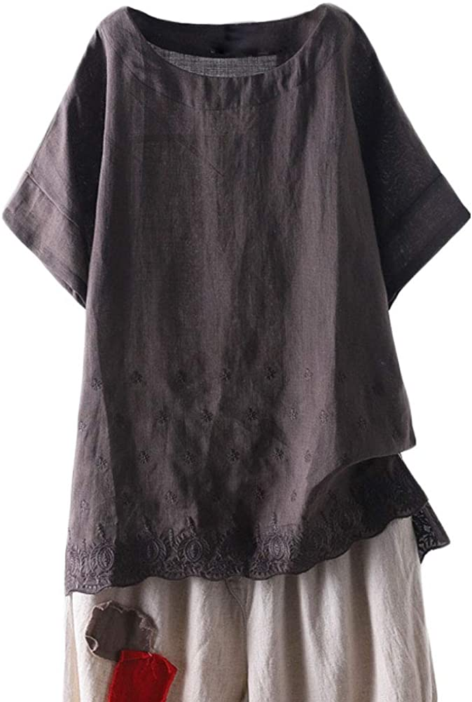 Mordenmiss Women's Linen Embroidered New sales Shirt Sleeve Blouse Short T Outlet SALE