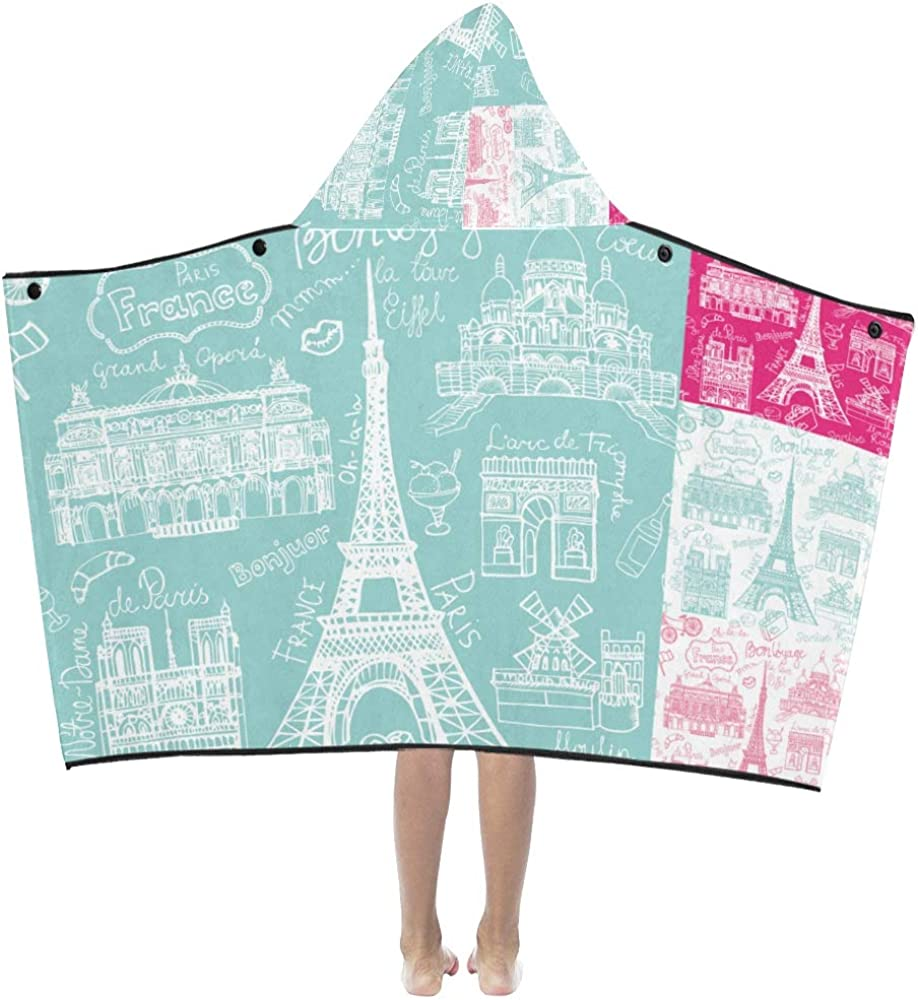 Kids Bath Towel depot Notre Dame De Paris Max 51% OFF Painted Bla Hooded Hand