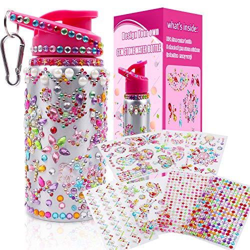DigHealth DIY Wasserflasche für Mädchen mit Aufkleber, 500 ML BPA Frei Aluminium Trinkflasche Bastelset für Kinder