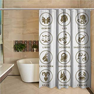 """Astrology Bath Shower Curtain Classic Zodiac Chart with Astrologicy Signs Collection Stiylish Art lllustration Waterproof Polyester Fabric Bath Curtain Design 60""""x72"""",White Sepia"""