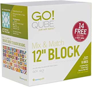 "AccuQuilt GO! Qube Mix & Match 12"" Block with GO! Square-6 ½"" (6"" Finished), GO! Square-3 ½"" (3"" Finished), GO! Half Square Triangle-6"" Finished Square and More."