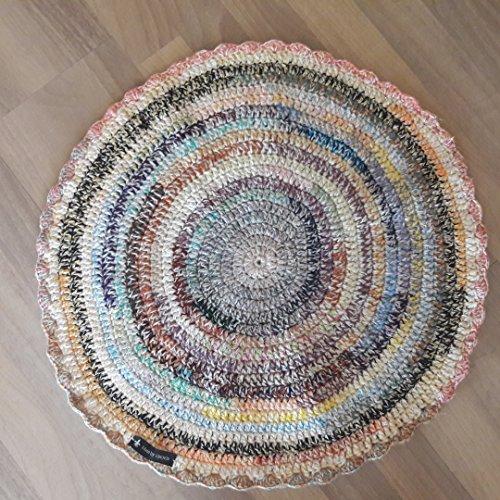 Runder gehäkelter Teppich Läufer Matte Unterlage Vorleger Fußabtreter moderner Fleckerl- und Baumwollteppichen