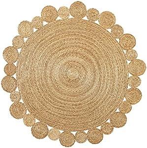Green Decore, tappeto rotondo in iuta, intrecciato a mano, Juta, Artisan Natural, 150 cm Diameter