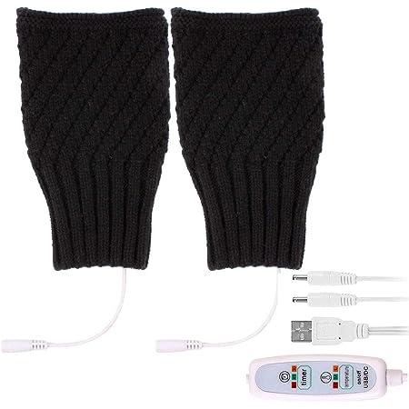 Miuphro USB手袋 USBグローブ 両用 3段階温度調節 半指手袋 指サック付き ニット手袋 ヒーターグローブ ハンドウォーマー ヒーター内蔵 洗濯可能 防寒対策 スマートフォン対応 マウス操作 PC作業 男女兼用 (半指手袋-ブラック)