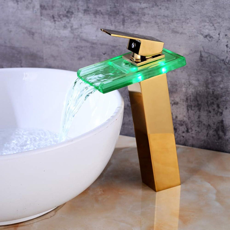 ZHFJGKR&ZL Spültischarmatur Waschbecken Wasserhhne Temperaturgesteuerter Wasserhahn Led Kran Moderne Wasserhhne Bad Wasserfall Wasserhahn Badarmaturen