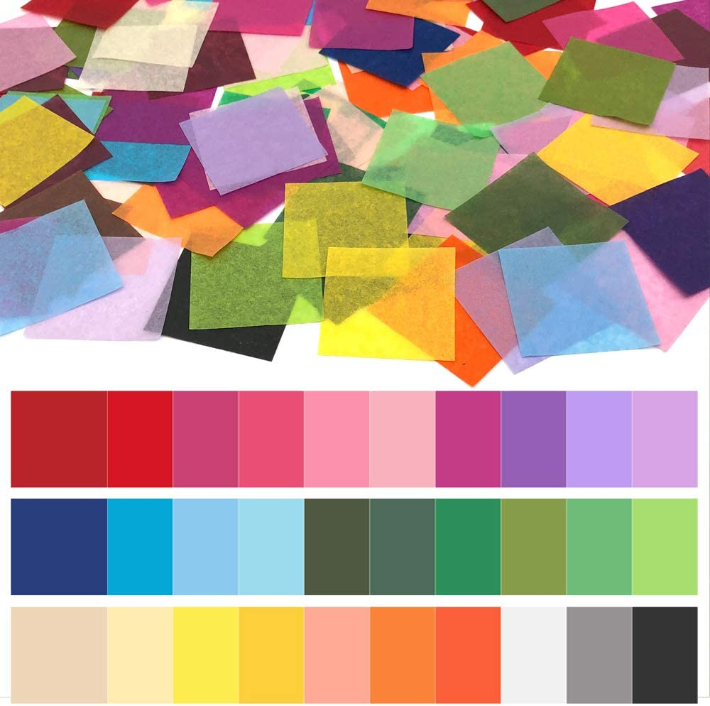 Cinvo 3000 Pcs Tissue Paper Squares 2 Inch x 2 inch Rainbow Tissue Mosaic Squares for Arts Crafts DIY Projects Scrunch Art Classroom Activities and More- 30 Assorted Colors