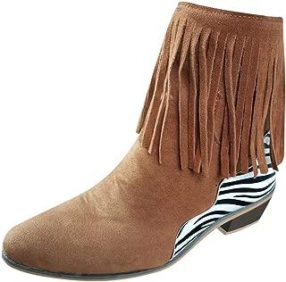 👏 Happylove 👏 Women's Fringe Western Cowboy Boot,Mid-Calf Boots Female Cowboy Low Heel Fashion Tassel Boots