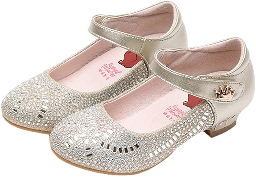 iFANS Girls Glitter Ballet Flat Mary Jane Front Bow Heart Rhinestone Buckle Ballerina Flat Princess Party Dress Shoes