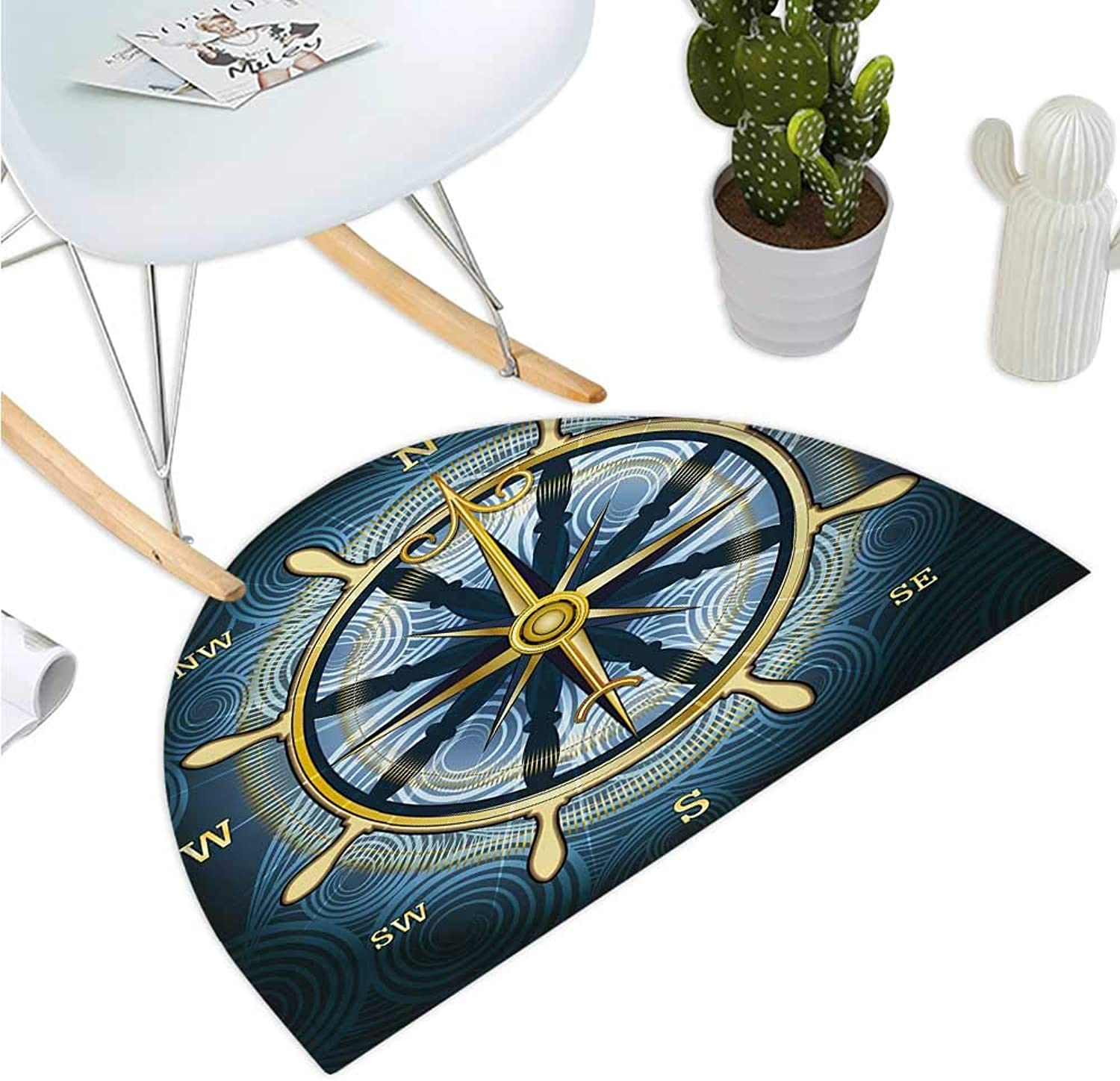 Compass Semicircular Cushion Navigation golden Compass with Windpink and Helm on a Wavy Backdrop Maritime Entry Door Mat H 47.2  xD 70.8  Yellow Navy bluee