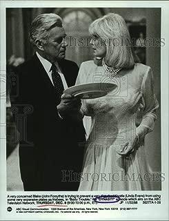Vintage Photos 1988 Press Photo John Forsythe & Linda Evans in Scene from Dynasty.