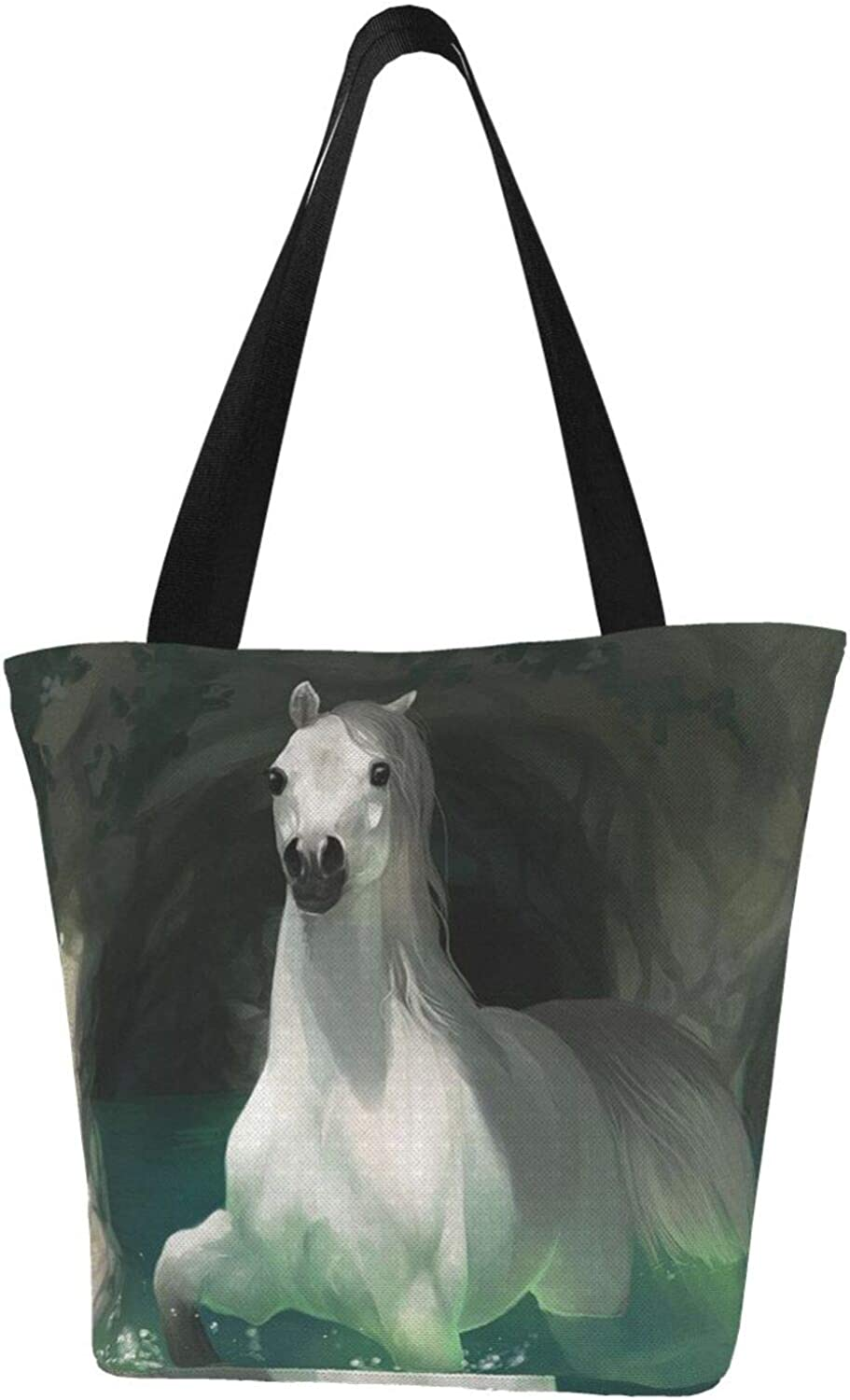 Lovely White Horse Stepping Water Funny Themed Printed Women Canvas Handbag Zipper Shoulder Bag Work Booksbag Tote Purse Leisure Hobo Bag For Shopping
