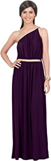 Womens Long One Shoulder Grecian Belted Flowy Summer Gown Maxi Dress