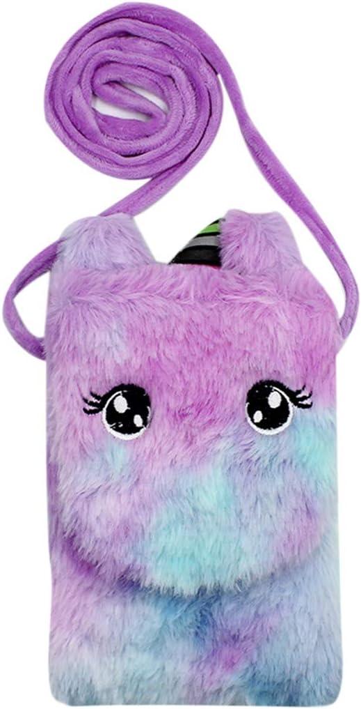 Kids Girls Colorful Plush Unicorn Cell Phone Bag Pouch Mini Crossbody Purse Handbag Wallet