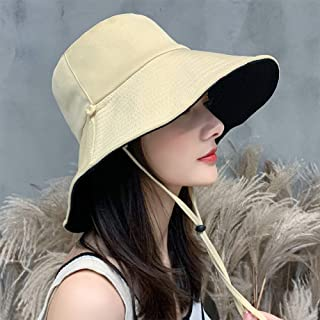 DishyKooker Outdoor Travel Sunscreen Hat Fisherman Women Summer Double Side Windproof Hat apricot