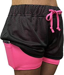 Lookwoild Women Athletic Shorts with Pockets 2 in 1 Elastic Waist Running Workout Shorts Active Mesh Yoga Shorts