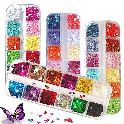 Kalolary 4 Boxen Nagel Pailletten, glitzer nägel Glitzer Sequin Chunky Glitter Schmetterling Nagel Pailletten nail art flake nail glitter 3d nail art aufkleber maniküre bilden