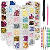 5 Boxs 3D Holographic Butterfly Nail Glitter, KINGMAS 60 Colors Circles, Stars, Hearts, Fish, Leaves Nail Sequins Flake Acrylic Paillettes for Nail Art Decoration & DIY Crafting