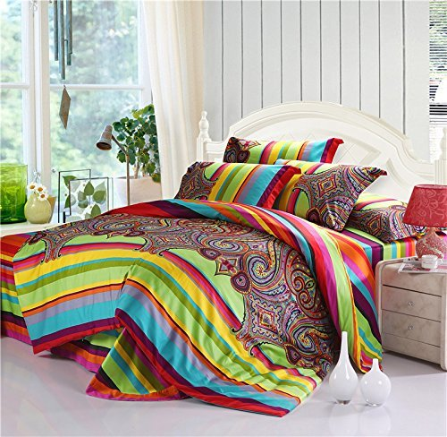 LELVA Colorful Bohemian Style Bedding Striped Boho Ethnic Style Bedding Duvet Cover Sets Full Queen 4 Piece (Full, Flat Sheet)