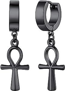 FaithHeart Huggie Hoop Earrings for Women-Stainless Steel/18K Gold Plated Dangling Drop Earring Ankh/Cross/Padlock/Italian Horn/Eye/Key Hoops Jewelry