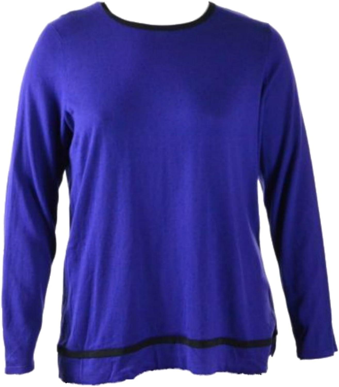 LAUREN Ralph Lauren Women's Plus Size ContrastTrim Keyhole Top 2X bluee