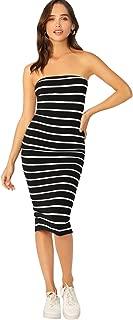 SheIn Women's Sexy Sleeveless Ribbed Knit Ruffle Hem Tube Striped Bodycon Dress