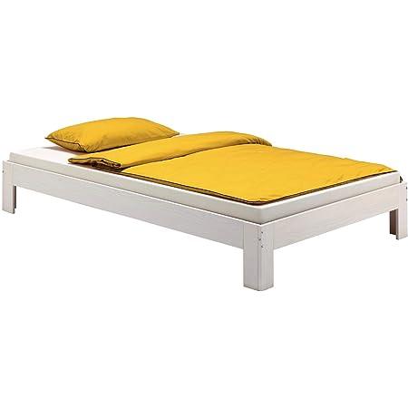 IDIMEX Lit futon Thomas Couchage Simple 90 x 190 cm 1 Place / 1 Personne, en pin Massif lasuré Blanc