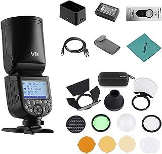 Godox V1S Flash Profesional para cámara Speedlite Speedlight Cabeza Redonda inalámbrica 2.4G Fresnel Zoom para Sony a7RII a7R a58 a99 ILCE6000L a7RIII a7R3 Cámaras + Godox AK-R1 Flash