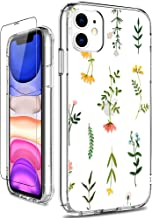 GiiKa iPhone 11 Case with Screen Protector, Clear Heavy Duty Protective Case Floral Girls Women Shockproof Hard PC Back Case with Slim TPU Bumper Cover Phone Case for iPhone 11, Grass Flowers
