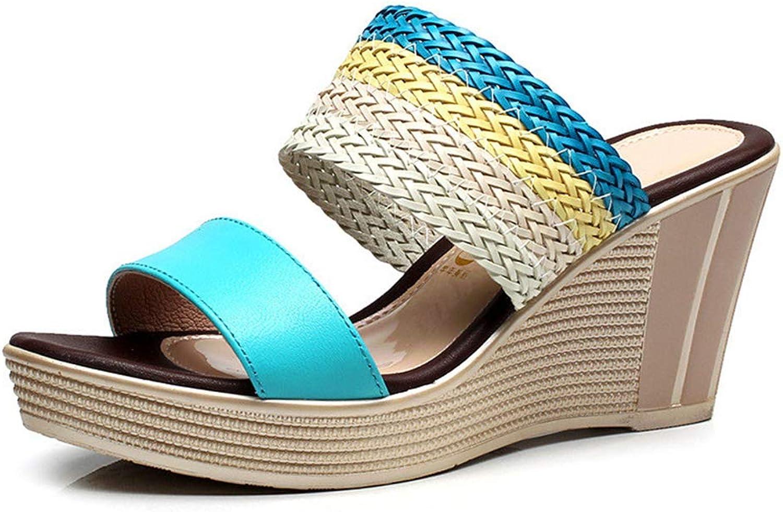 CHENSF Women's Comfy High Heels Wedge Platform Summer Slippers Sandals