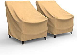 Budge P1A03SF1-2PK All-Seasons Patio Chair Cover (2 Pack) Lightweight, UV Resistant, Small (2-Pack), Tan