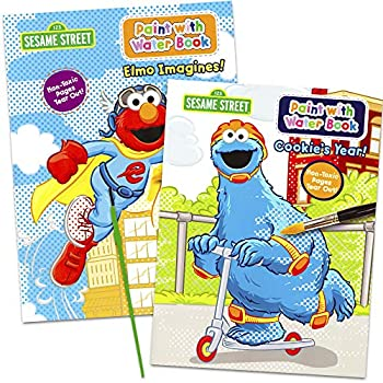 Sesame Street Paint With Water Books with Paint Brush  2 Books 1 Green-Tip P...