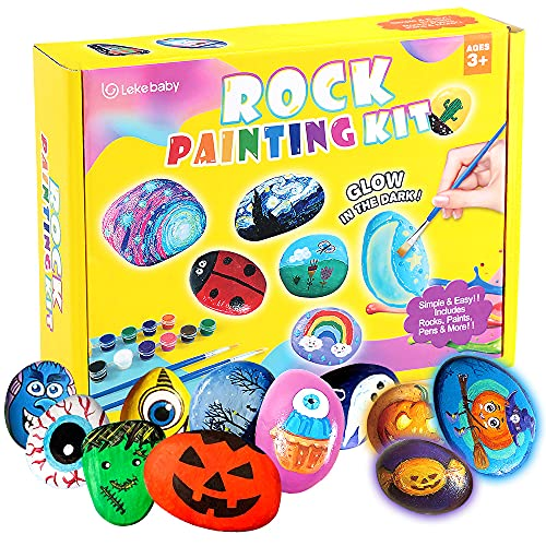 Lekebaby Rock Painting Kit for Kids Ages 4-8 Arts and Crafts for Kids 4-6 - Glow in The Dark Painting Rocks for Kids - Great Halloween Painting Gifts for Boys and Girls