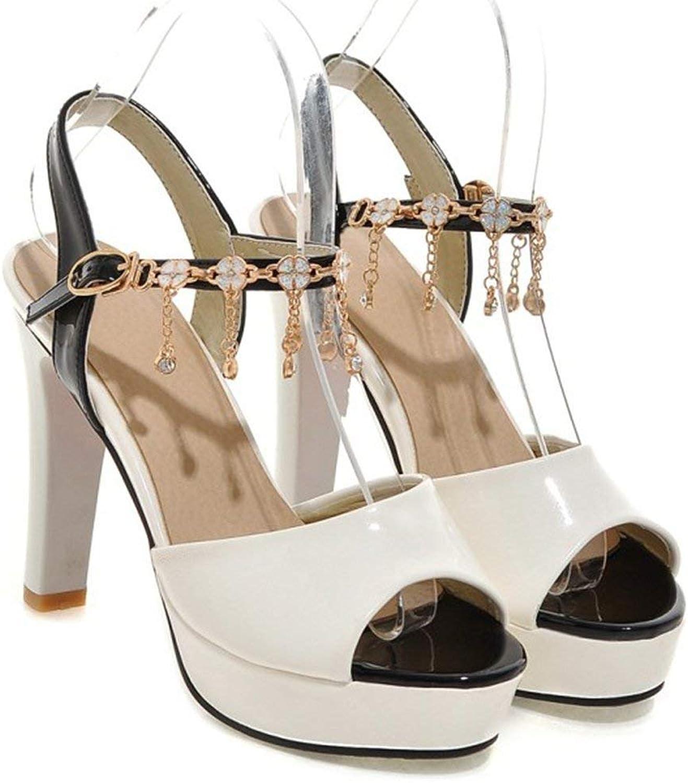Ghapwe Women's Shiny Rhinestone Chain Peep Toe Pumps Ankle Strap Platform Chunky High Heel Sandals Pink 6.5 M US