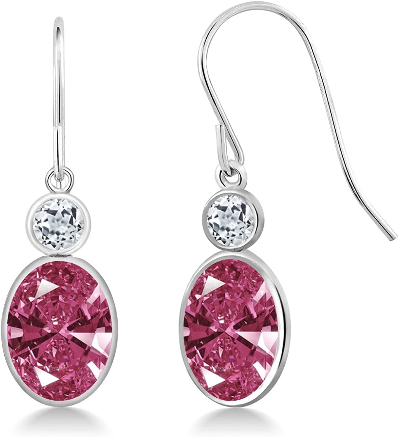 2.70 Ct Red 14K White gold Earrings Made With Swarovski Zirconia