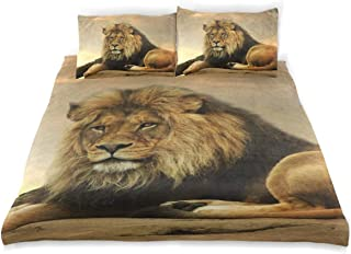 OSBLI Bedding Duvet Cover Set 3 Pieces African Lion Sunset Bed Sheets Sets and 2 Pillowcase for Teens