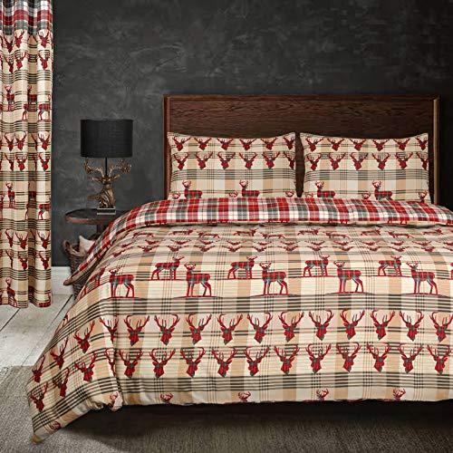 Nimsay Home, Copripiumino e Federe a Cervo e Scacchi, 100% Cotone, Rosso Multicolore, Matrimoniale 255x200cm + 2x50x80cm