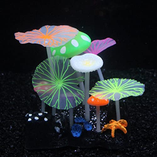 SLOME Aquarium Glowing Mushroom Decorations - Fish Tank Decoration Silicone Ornament, Eco-Friendly for