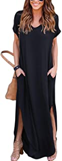 Zilcremo Women Casual Dress Tie Dye/Floral Short Sleeve Summer Loose Maxi Dresses with Pockets
