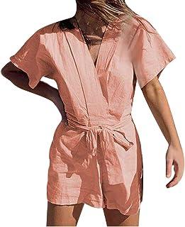 ファッション女性ソリッドクロスVネック半袖コットンとリネンの包帯ジャンプスーツ