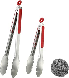 """rabkoo Kitchen Tongs for Cooking Set of 2 BBQ Tongs Stainless Steel Grilling Tongs 13"""" and 10"""" with Rubber Handle and Lock..."""