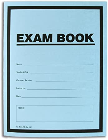 Exam Book Exam Blue Book//Blue Exam Book//Blue Test Book Saddle Stitched Ruled Format - 8.5 x 11-16 50 Booklets