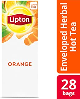 Lipton Orange Enveloped Hot Tea Bags Herbal Caffeine Free, 28 count, Pack of 6